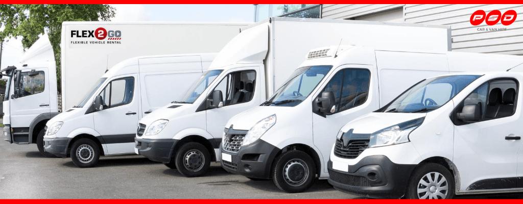 range of vehicles available as part of FLEX2GO flexible vehicle hire